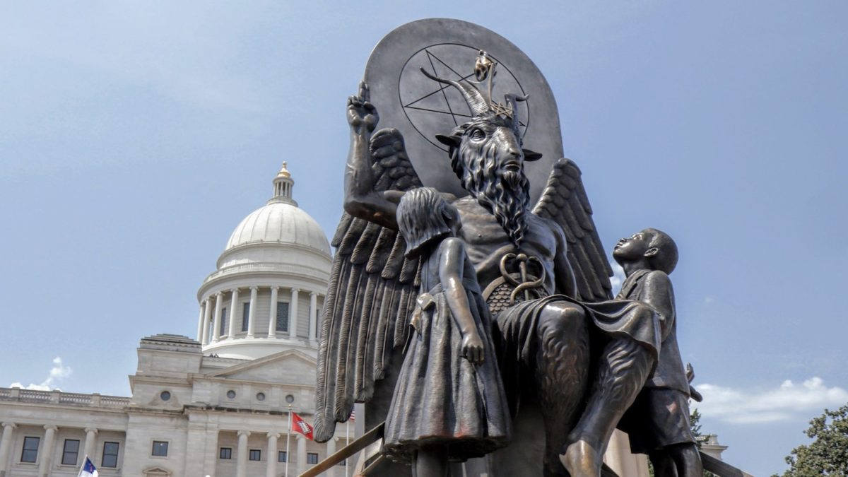 """Baphomet monument in front of the state capitol building, featured in """"Hail Satan?"""", a Magnolia Pictures release."""