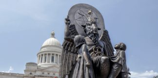 "Baphomet monument in front of the state capitol building, featured in ""Hail Satan?"", a Magnolia Pictures release."