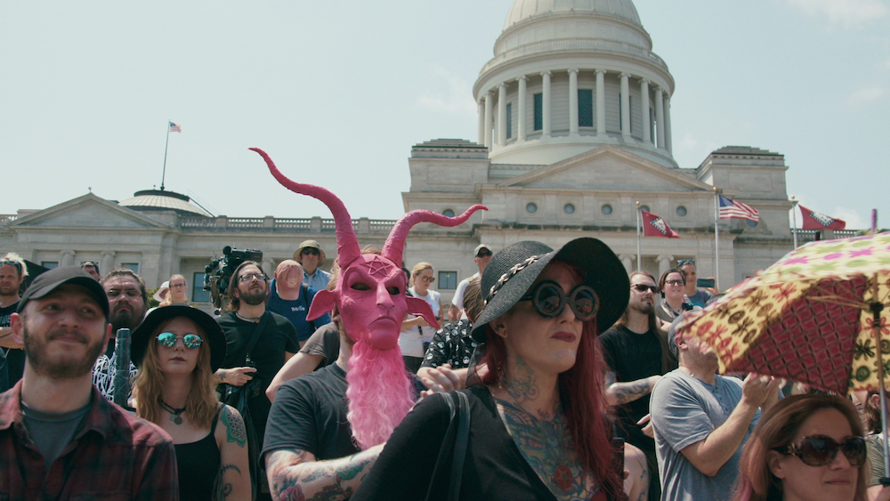 Supporters of The Satanic Temple at the rally for religious liberty in Little Rock, August 2018