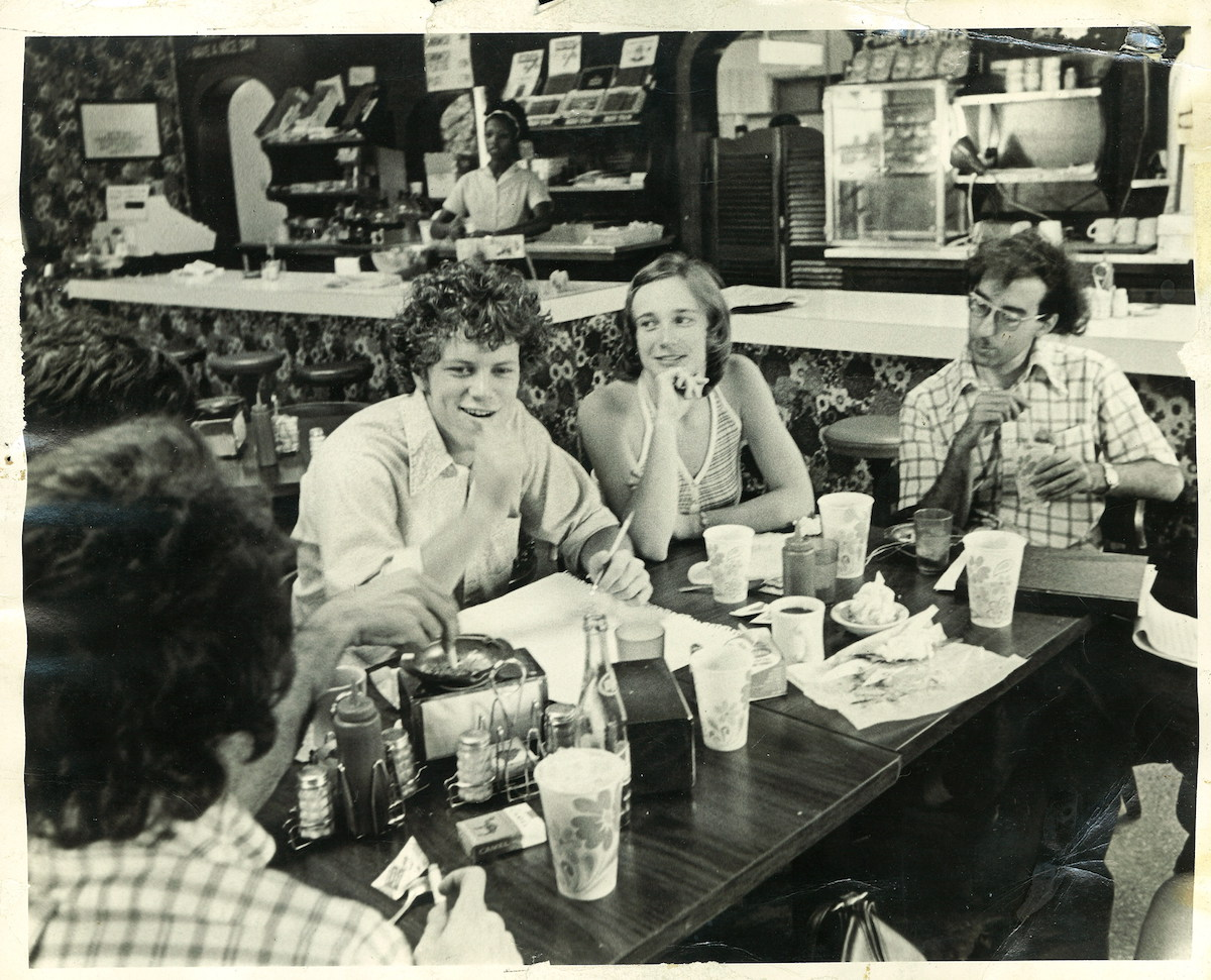 Alan Leveritt (left), Margaret Arnold (now known as Mara Leveritt) and other Arkansas Times staffers meet at The Shack.