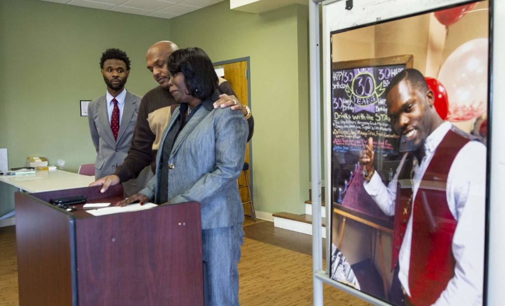 ASKING FOR ANSWERS: Kimberly Blackshire-Lee, mother of Bradley Blackshire, at a press conference after the shooting death of her son.