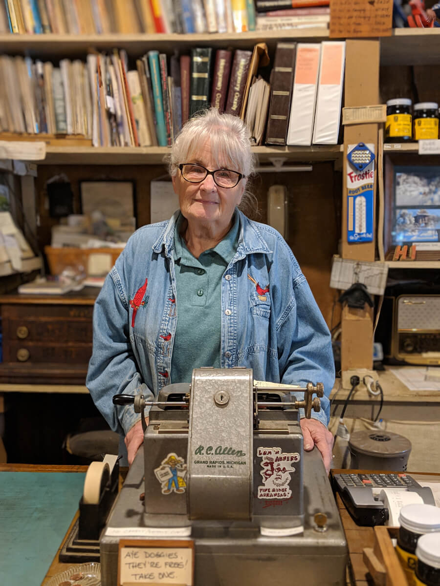 image of Kathryn Moore Stucker, proprietor of the Lum and Abner Jot 'Em Down Store