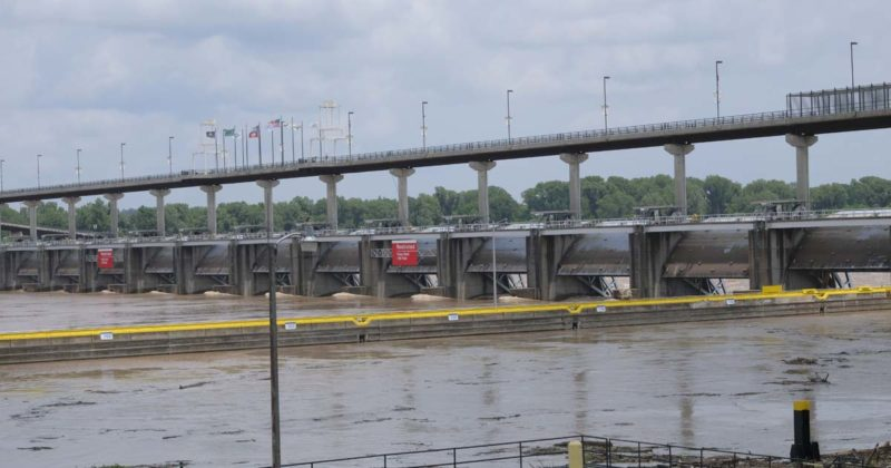 image of High water at the Murray Lock and Dam near the Big Dam Bridge in Little Rock on May 29