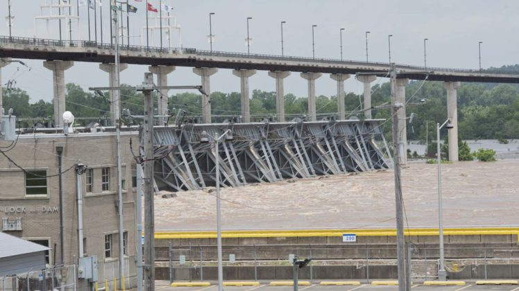 image High water boils at the Murray Lock and Dam in Little Rock on May 29
