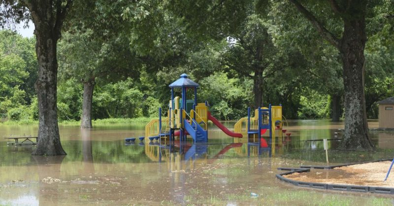 Picture of Riverview Skateboard Park in North Little Rock on May 29. It is closed because of flooding