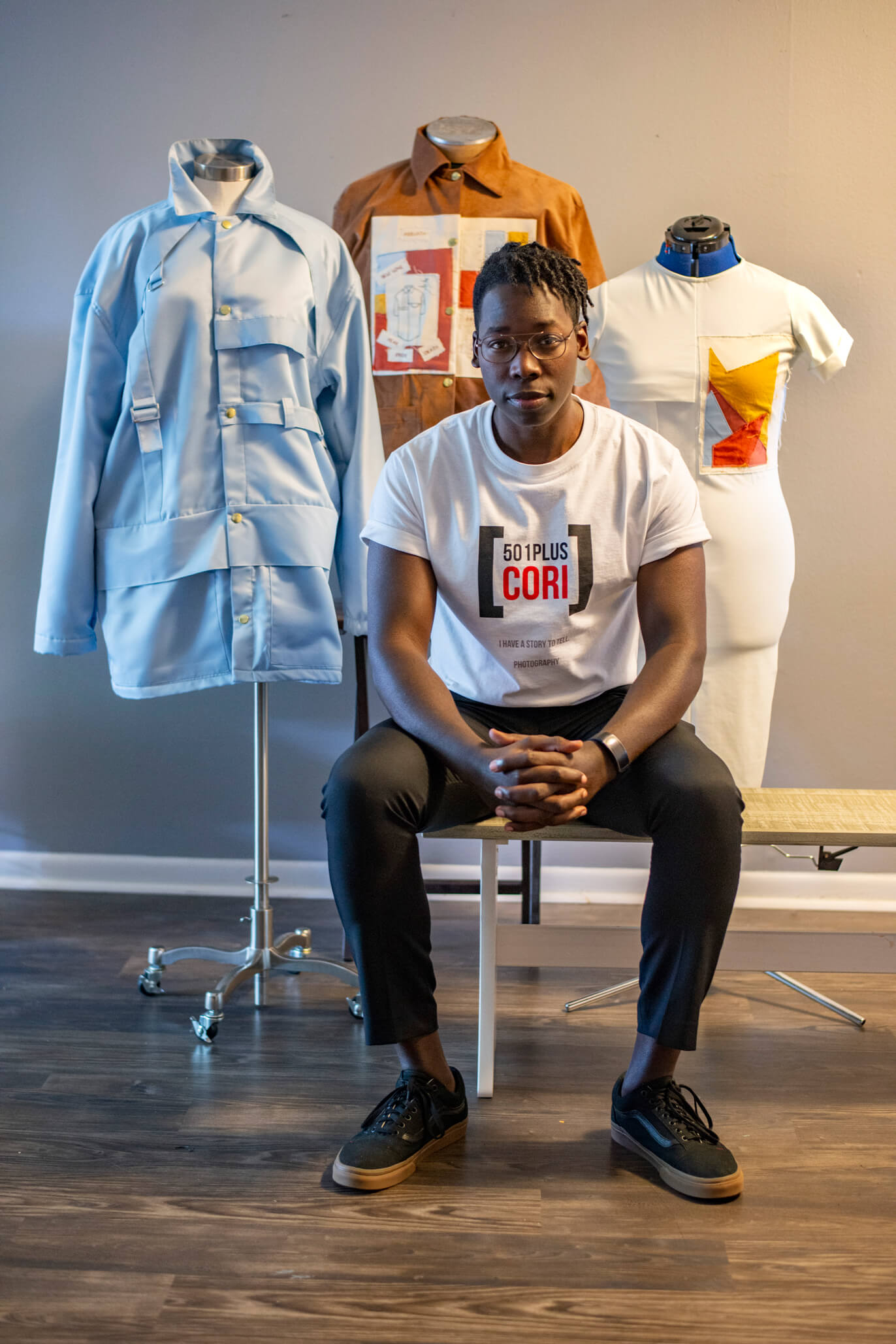 "Picture of Bruce Davis with his new clothing collection, ""Rebirth"""