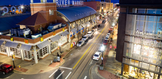 Little Rock River Market at night.