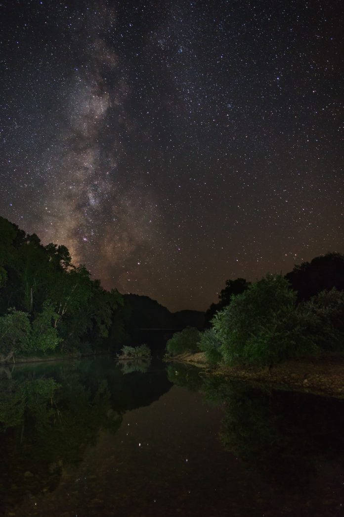 starry sky on the Bufffalo River at Grinder's Ferry