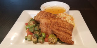 Cache presents is Pecan encrusted Catfish