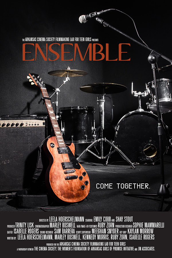 "a movie poster with guitar and drum kit, titled ""Ensemble"""