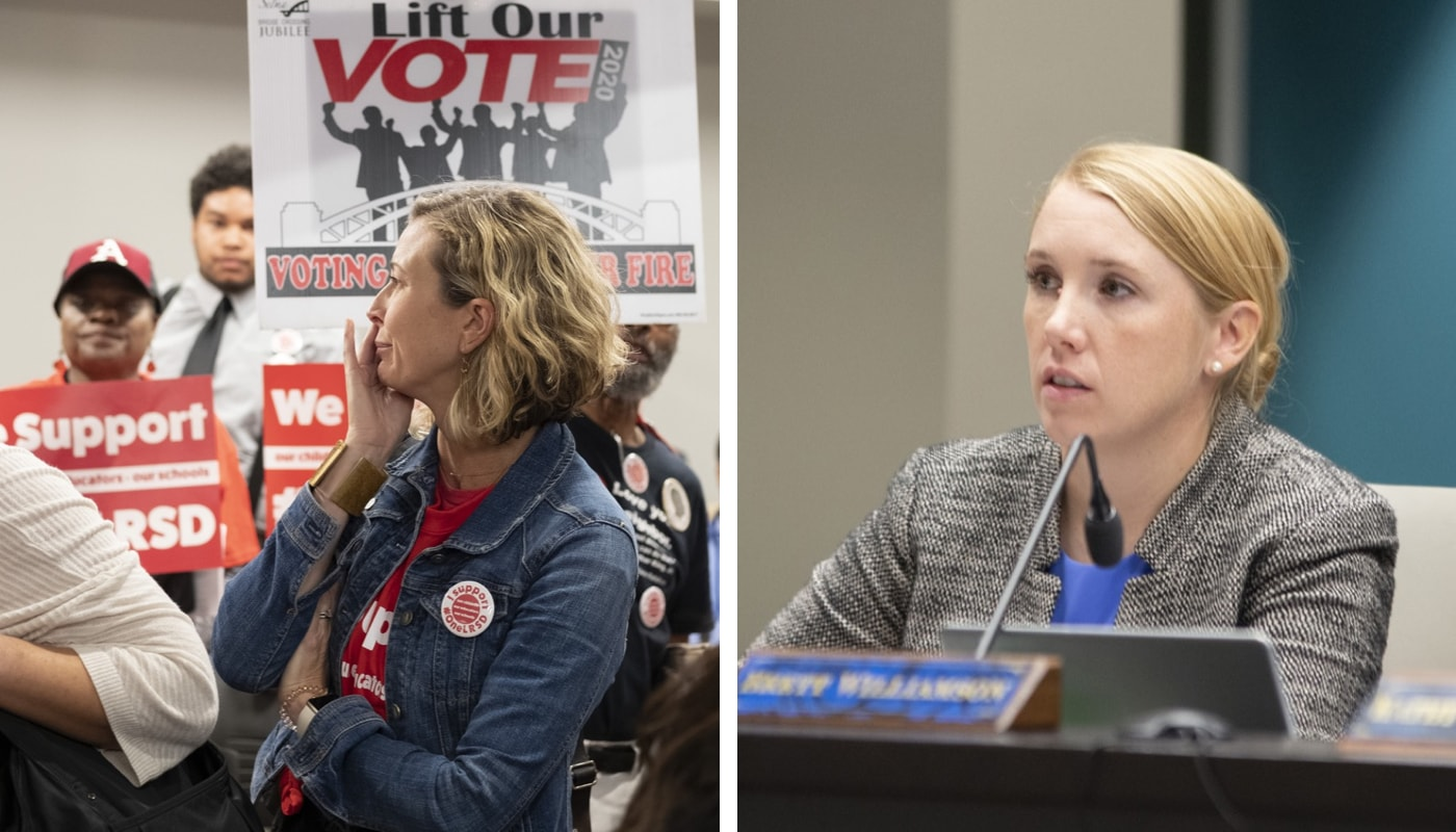 AT ODDS: State Board of Education member Sarah Moore (right) has made crucial motions that have outraged the LRSD community, including parent Kacky Fuller (left).