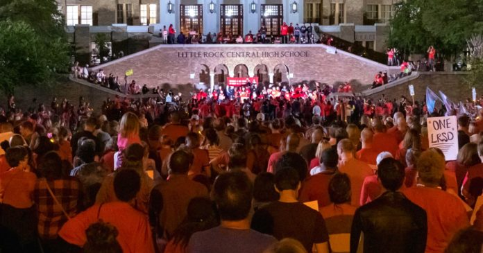 Several thousand LRSD supporters gathered at Central High School on Oct. 9 to protest the state's treatment of the school district.