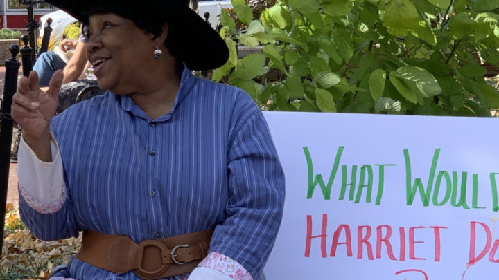 Modern-day Harriet Tubman protests Confederate statue in Bentonville - Arkansas Times