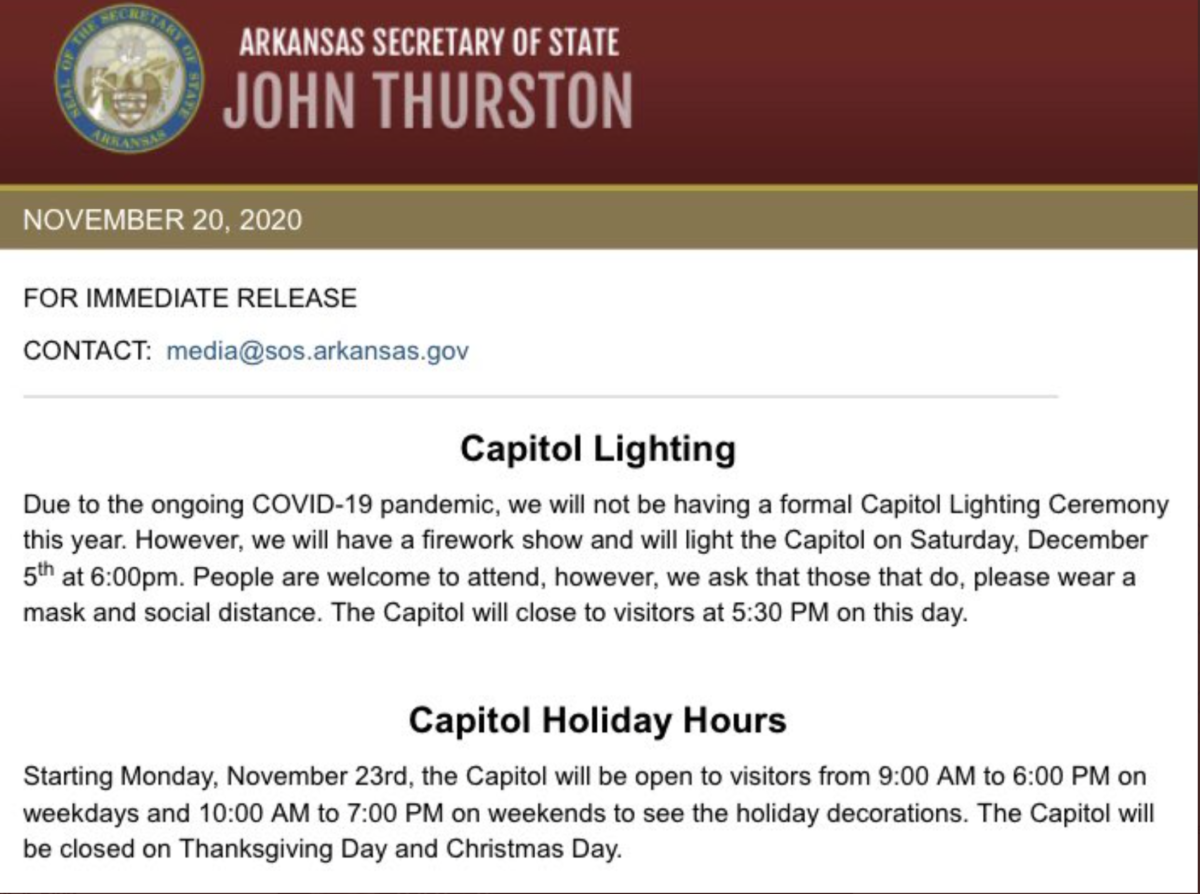 Little Rock Capitol Christmas Lighting 2020 Capitol to open for holiday visitors but no formal lighting