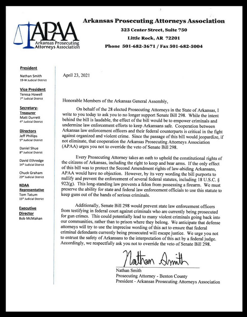 letter from prosecutors