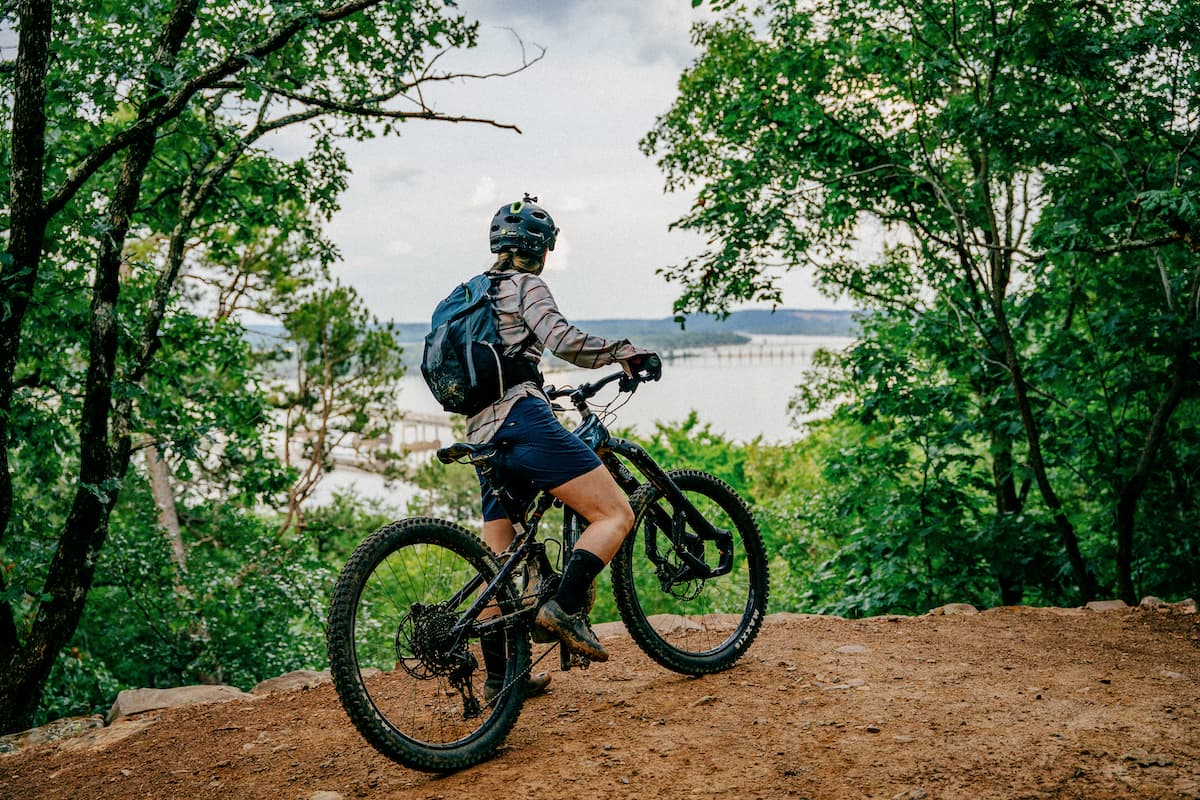 Mountain biker looking at Arkansas River from River Mountain Park image