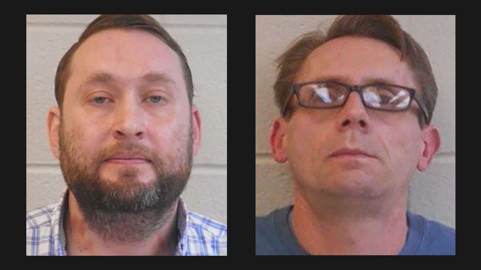 Picture of ARRESTED: Former Henderson State University chemistry professors Bradley Rowland (left) and Terry David Bateman