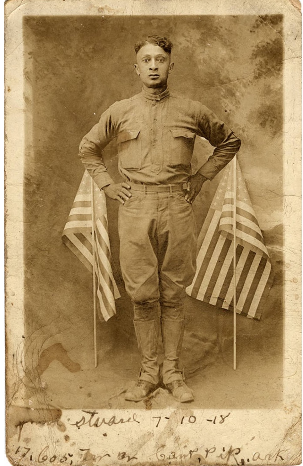 picture of an An unidentified Black soldier in 1918 in Arkansas's Camp Pike