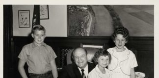 picture of former Arkansas Gov. Orval Faubus withWayne, Delia and Linda Cude. Their father refused to vaccinate them.